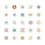 Χρωματισμένα Snowflakes διανυσματικά εικονίδια 3 Στοκ Φωτογραφίες