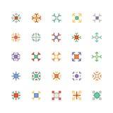 Χρωματισμένα Snowflakes διανυσματικά εικονίδια 4 Στοκ Εικόνες
