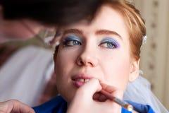 Χρωματισμένα Visagist χείλια Στοκ φωτογραφίες με δικαίωμα ελεύθερης χρήσης