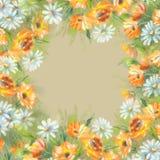 Χρωματισμένα Watercolor λουλούδια Στοκ Εικόνα