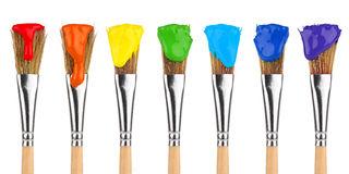 Χρωματισμένες βούρτσες χρωμάτων Στοκ Εικόνες