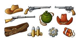 Χρωματισμένες διανυσματικές απεικονίσεις των άγριων δυτικών όπλων και των στοιχείων που απομονώνονται στο λευκό διανυσματική απεικόνιση