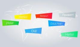Χρωματισμένες λεκτικές φυσαλίδες με το κείμενο γειά σου στη διαφορετική γλώσσα Απεικόνιση αποθεμάτων