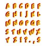 Χρωματισμένες επιστολές στο isometric ύφος τρισδιάστατος μαύρος πεζός κόκκινος κίτρινος αλφάβητου διανυσματική απεικόνιση