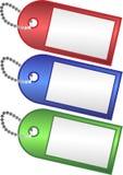 χρωματισμένες ετικέττες τρία Στοκ Φωτογραφίες