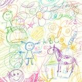 Χρωματισμένες κακογραφίες μολυβιών που γίνονται από ένα μικρό παιδί Στοκ εικόνα με δικαίωμα ελεύθερης χρήσης