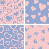 Χρωματισμένες καρδιές - άνευ ραφής διανυσματικό σχέδιο διανυσματική απεικόνιση