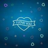 Χρωματισμένες καρδιές με την επιγραφή: Σ' αγαπώ Στοκ Εικόνες