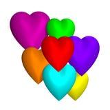 Χρωματισμένες καρδιές τρισδιάστατες Στοκ φωτογραφία με δικαίωμα ελεύθερης χρήσης