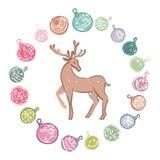 Χρωματισμένες κινούμενα σχέδια διακοσμήσεις Χριστουγέννων με τον τάρανδο στοκ εικόνες
