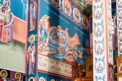 Χρωματισμένες νωπογραφίες στην εκκλησία, Κρήτη στοκ φωτογραφία