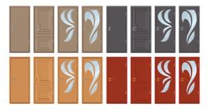 Χρωματισμένες ξύλινες πόρτες που απομονώνονται στο άσπρο υπόβαθρο, ρεαλιστική ξύλινη πόρτα, έγχρωμη εικονογράφηση του διαφορετικο στοκ εικόνες
