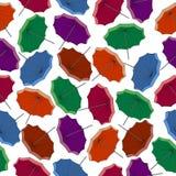 χρωματισμένες ομπρέλες πρότυπο άνευ ραφής Στοκ εικόνα με δικαίωμα ελεύθερης χρήσης