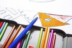 χρωματισμένες πέννες δει&kap Στοκ Εικόνα