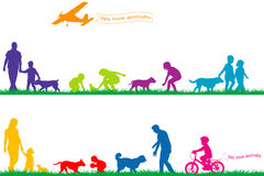 Χρωματισμένες σκιαγραφίες των ανθρώπων και των ζώων Στοκ φωτογραφία με δικαίωμα ελεύθερης χρήσης