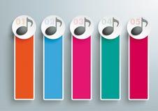 5 χρωματισμένες στενόμακρες σημειώσεις μουσικής εμβλημάτων Διανυσματική απεικόνιση