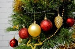 Χρωματισμένες σφαίρες στο χριστουγεννιάτικο δέντρο Στοκ Φωτογραφία