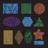 Χρωματισμένες σύνολο κεραμικές μορφές μωσαϊκών Στοκ Εικόνες