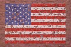 Χρωματισμένη αμερικανική σημαία στο τούβλο Στοκ Εικόνες
