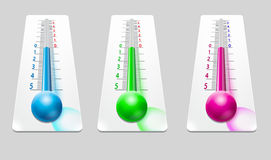 Χρωματισμένη απεικόνιση θερμομέτρων Στοκ φωτογραφία με δικαίωμα ελεύθερης χρήσης