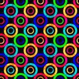 Χρωματισμένη αφηρημένη psychedelic γεωμετρική διανυσματική απεικόνιση σχεδίων κύκλων άνευ ραφής Στοκ Εικόνες