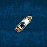 Χρωματισμένη βάρκα μηχανών στο υπόβαθρο του μπλε νερού Στοκ Εικόνες