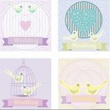 Χρωματισμένη γαμήλια απεικόνιση με τα περιστέρια αγάπης Στοκ Φωτογραφία