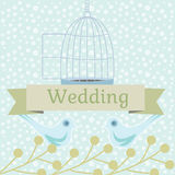 Χρωματισμένη γαμήλια απεικόνιση με τα περιστέρια αγάπης Στοκ Φωτογραφίες