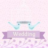 Χρωματισμένη γαμήλια απεικόνιση με τα περιστέρια αγάπης Στοκ φωτογραφία με δικαίωμα ελεύθερης χρήσης