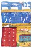 Χρωματισμένη ζωηρόχρωμη πόλη - γκουας σχεδίων Στοκ εικόνες με δικαίωμα ελεύθερης χρήσης