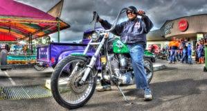Χρωματισμένη η συνήθεια δεκαετία του '80 Harley Davidson Softail στοκ εικόνα
