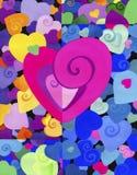 Χρωματισμένη διακοσμητική καρδιά στο υπόβαθρο πολλών χρωμάτων, όμορφο μικρές και μεγάλες καρδιές Υπόβαθρο Η σύσταση διανυσματική απεικόνιση