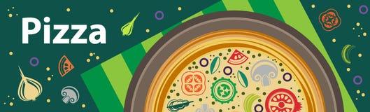Χρωματισμένη διανυσματική διαφήμιση εμβλημάτων πιτσών οριζόντια Στοκ Εικόνες