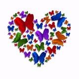 Χρωματισμένη καρδιά πεταλούδων Στοκ φωτογραφία με δικαίωμα ελεύθερης χρήσης