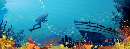Χρωματισμένη κοραλλιογενής ύφαλος με τα ψάρια και το δύτη Ελεύθερη απεικόνιση δικαιώματος