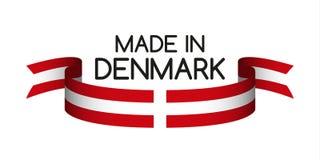 Χρωματισμένη κορδέλλα τα δανικά χρώματα, που κατασκευάζονται με στη Δανία διανυσματική απεικόνιση