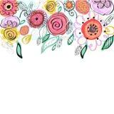 Χρωματισμένη κρητιδογραφία ευχετήρια κάρτα λουλουδιών άνοιξη Διακοσμητικό ζωηρόχρωμο floral διανυσματικό υπόβαθρο ελεύθερη απεικόνιση δικαιώματος