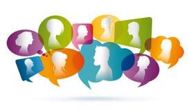 Χρωματισμένη λεκτική φυσαλίδα Ομιλία πλήθους ομιλία ανθρώπων ομάδας έννοιας επικοινωνίας Επικοινωνία μεταξύ των ανθρώπων Σκιαγραφ ελεύθερη απεικόνιση δικαιώματος