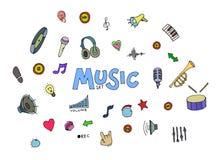 Χρωματισμένη μουσική doodles Στοκ Εικόνες