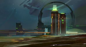 Χρωματισμένη νύχτα ένας φανταστικός ορίζοντας πόλεων ελεύθερη απεικόνιση δικαιώματος