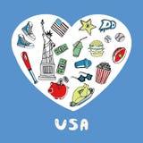 Χρωματισμένη οι ΗΠΑ ζωηρόχρωμη συλλογή Doodles απεικόνιση αποθεμάτων