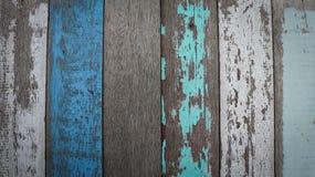 Χρωματισμένη παλαιά σύσταση τοίχων ξύλου και σανίδων για το μπλε υπόβαθρο Στοκ Εικόνα
