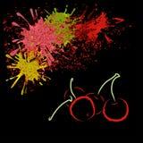 Χρωματισμένη περίληψη του κερασιού με τους λεκέδες, διανυσματική απεικόνιση Στοκ Εικόνες