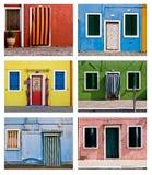 Χρωματισμένη πρόσοψη σε Burano Στοκ εικόνα με δικαίωμα ελεύθερης χρήσης