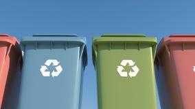 Χρωματισμένη συλλογή απορριμάτων εμπορευματοκιβωτίων χωριστή για την προστασία του περιβάλλοντος απόθεμα βίντεο