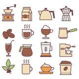 Χρωματισμένη συλλογή εικονιδίων καφέ γραμμική Επίπεδα εικονίδια καφέ καθορισμένα ελεύθερη απεικόνιση δικαιώματος
