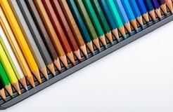 Χρωματισμένη σύσταση μολυβιών foreground Χρώματα του φθινοπώρου και του χειμώνα Έναρξη του σχολείου, των κατηγοριών όμορφη ταπετσ στοκ εικόνες