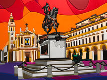 Χρωματισμένη τέχνη μωσαϊκών και γρίφων: Εκκλησία και ιππικό άγαλμα - αβ Στοκ εικόνες με δικαίωμα ελεύθερης χρήσης