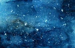 Χρωματισμένη χέρι απεικόνιση watercolor του νυχτερινού ουρανού διανυσματική απεικόνιση