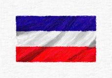 Χρωματισμένη χέρι κυματίζοντας εθνική σημαία Los Altos, ελαιόχρωμα που απομονώνεται ελεύθερη απεικόνιση δικαιώματος